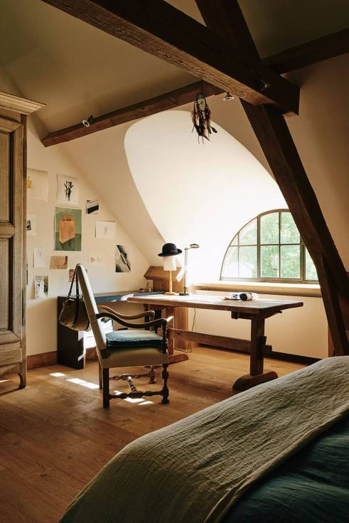 Attic bedroom and workspace with window view