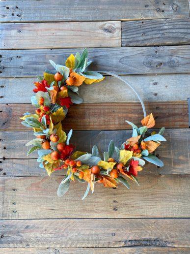 Autumn Berry Lambs Ear Hoop Wreath