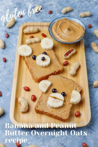 Vegan, Gluten-free Banana and Peanut Butter Overnight Oats recipe.