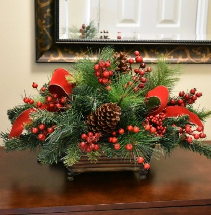 Berry and Pine Christmas Centerpiece