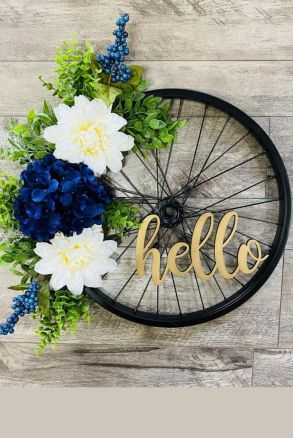 Bicycle wheel spring wreath