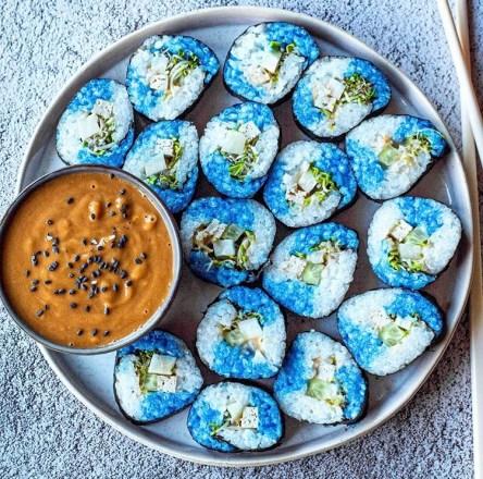 Blue sushi platter perfect for Christmas eve dinner