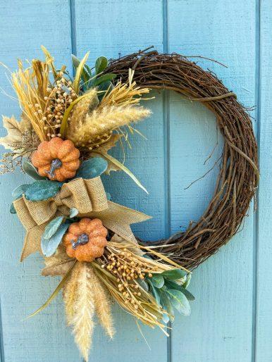 Burlap bow fall wreath