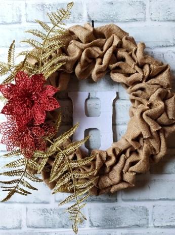 Burlap jute Christmas wreath