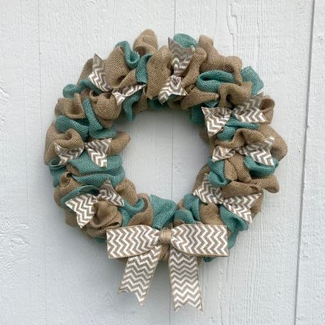 Burlap summer wreath for front door decor
