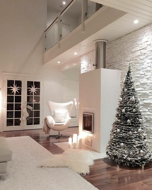 Conic Christmas tree with white decorations