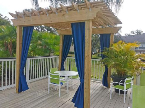 Custom Sunbrella Curtain Panel for jacuzzy privacy in various colours