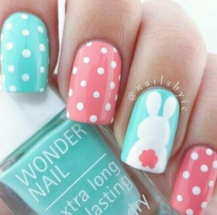Cute polka dots Easter bunny nails design