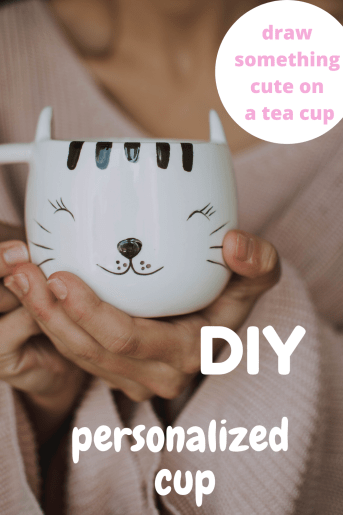 Draw something cute on a tea cup to offer as a DIY Christmas gift