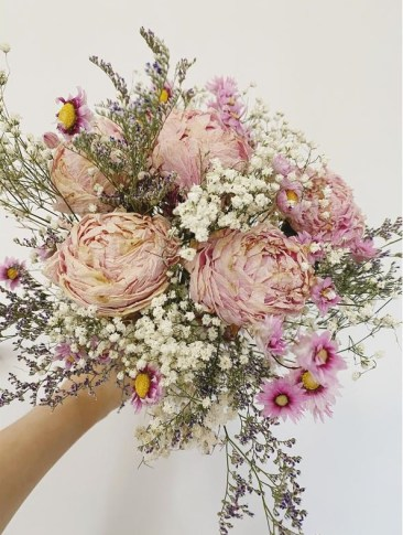Dried peonies flower bouquet