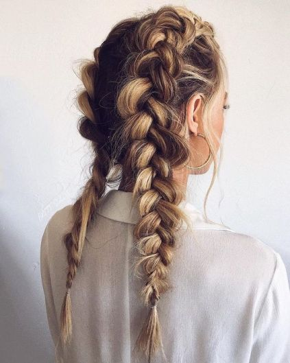 Dutch braid hairstyle for Christmas holidays
