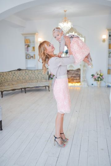 Elegant lace skirt and top Easter outfit for mom and daughter