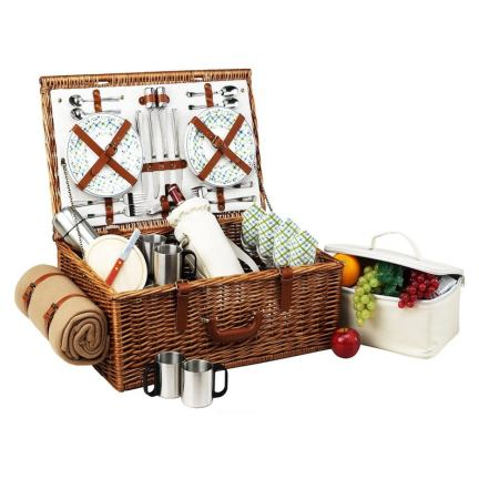 English Style Willow Woven Picnic Basket Set