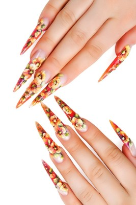 Extra long stiletto summer nails art