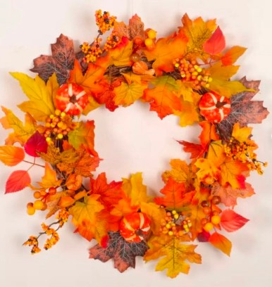 Fall, Autumn, artificial wreath decoration, rattan, wall or door hung, berry, pumpkin maple leaf design, large garland ornament, thanksgiving