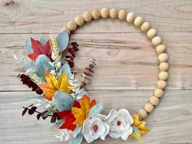 Fall wooden bead hoop wreath