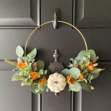Fall eucalyptus hoop wreath