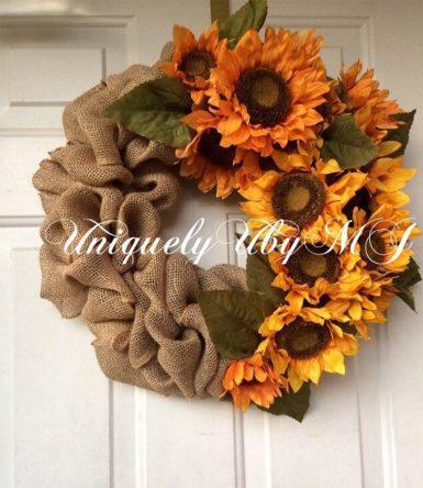 Fall sunflower burlap wreath