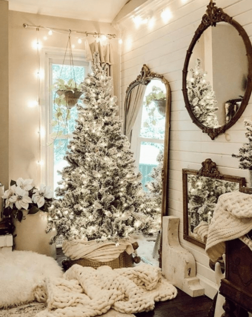 Farmhouse White Christmas tree decoration