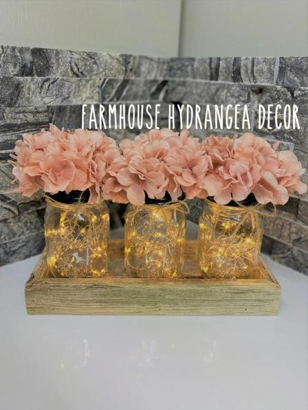 Farmhouse artificial flowers with Fairy Lights glass  vase