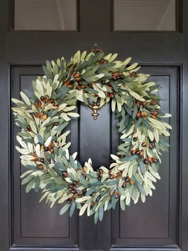Faux olive wreath for front door