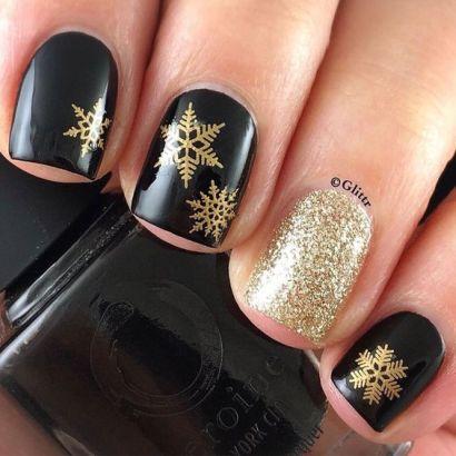 Festive black and gold nails design