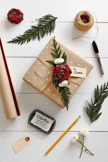Festive gift wrapping idea