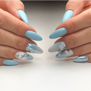 Gorgeous blue nails with flowers. Winter nails design ideas for long and short manicure