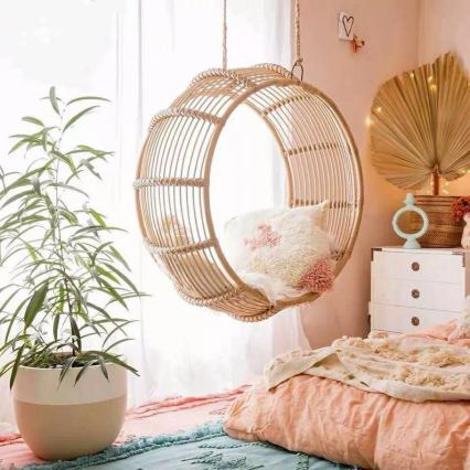 Handmade rattan swing chair for bedroom decor
