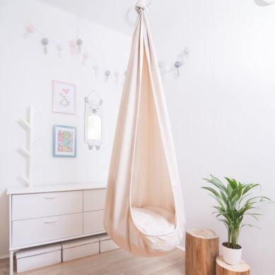 Indoor hammock chair Beige cocoon swing Fabric kids hammock