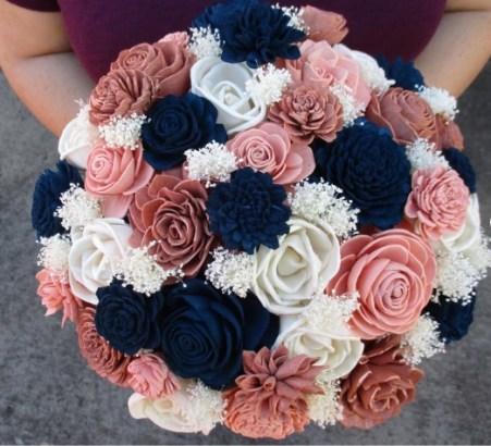 Ivory Wood Flower Wedding Bouquet