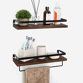 Keep everything organized in the bathroom with these simple, but elegant storage shelves.