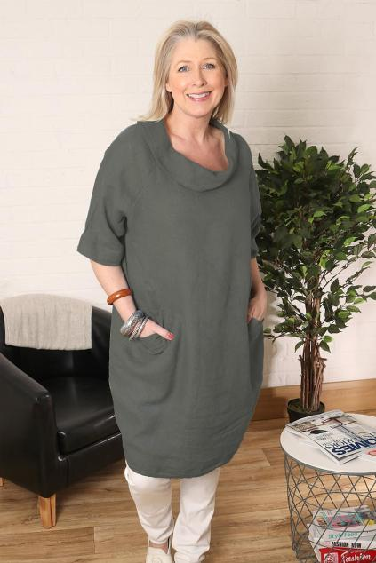 Gift for mum Lagenlook Plus Size Scoop Neck Dress with pockets