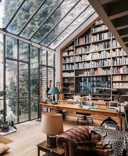 Large home office with giant library space