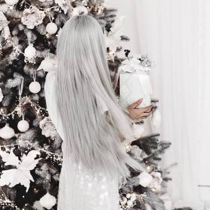 Long straight grey hair that looks like Ice  Queen