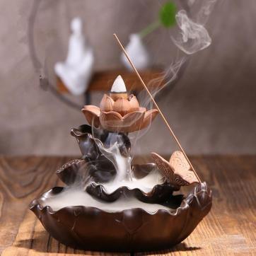 Lotus Backflow Cone Incense Burner Ceramic Stick