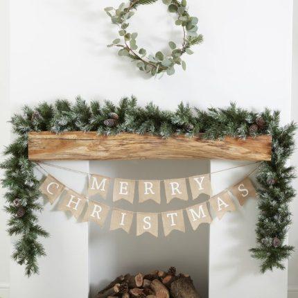 Merry Christmas Hessian Burlap mantel