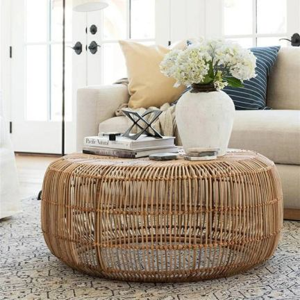 Modern Rattan round Coffee Table for indoor and outdoor