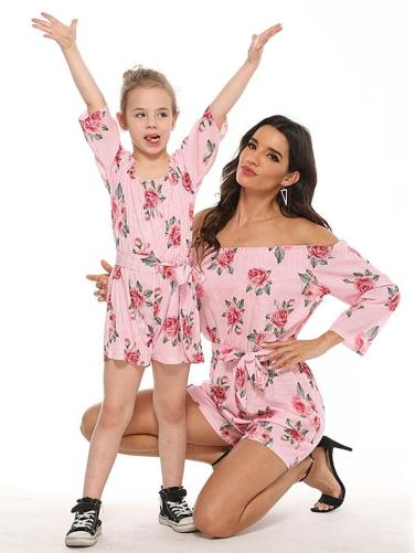 Mother and daughter floral jumpsuit