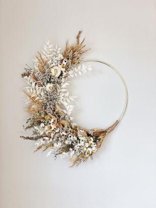 Neutral minimalist Boho dried flower wreath