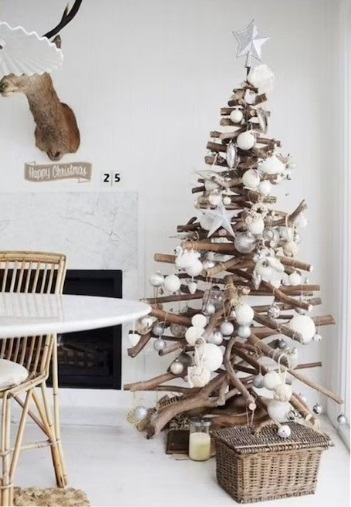 Neutral wood branches Scandi Christmas tree