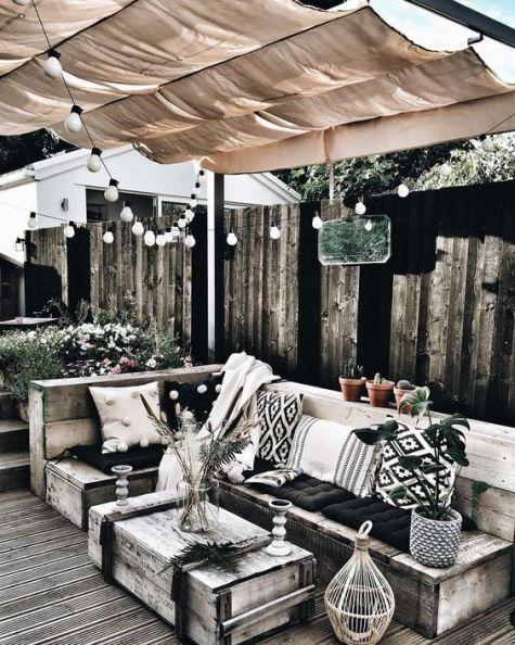 Nordic patio decor with pergola and lights