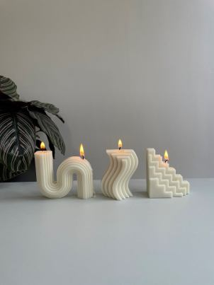 Nordic style candles for interior decor. Nordic candle decor.