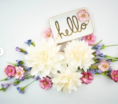 Paper Dahlia flowers for interior decor