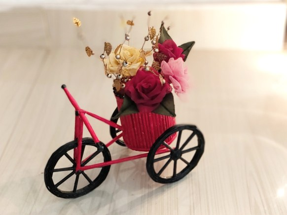 Paper bicycle quilting with basket and flowers