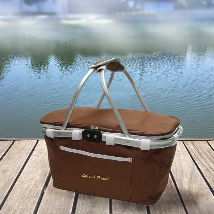 Personalized embroidery name water-resistant interior insulated picnic basket