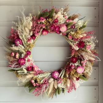 Pink and Cream  dried flowers wreath