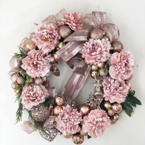 Pink floral Christmas wreath