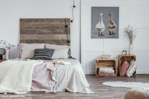 Repurpose wooden crate as bedroom furniture
