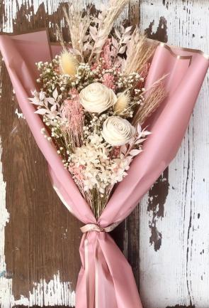 Rustic Natural and White and Pink Preserved Flowers